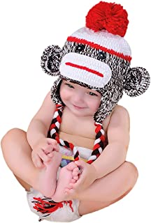 EFANBABY Baby Monkey Hats with Earflaps Soft Warm Knit Hat Infant Toddler Baby Beanie