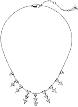 Blue by Betsey Johnson Silver Tone Cubic Zirconia Stone Frontal Necklace