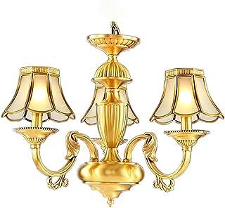 SXXYTCWL Pendentif Moderne Light Atmosphère rétro Tous Bronze Pendentif Pendentif Lumière Art Suspension Chambre Légère Ch...