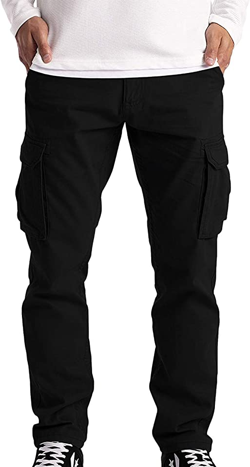 Herren Cargohose mit 6 Taschen, Männer Frachthose Arbeitshose Combat Cargo Hose Trouser,Jogginghose Lange Regular Fit Hose Einfarbig Freizeithose Wanderhose Trekkinghose Men Pants Outdoorhose