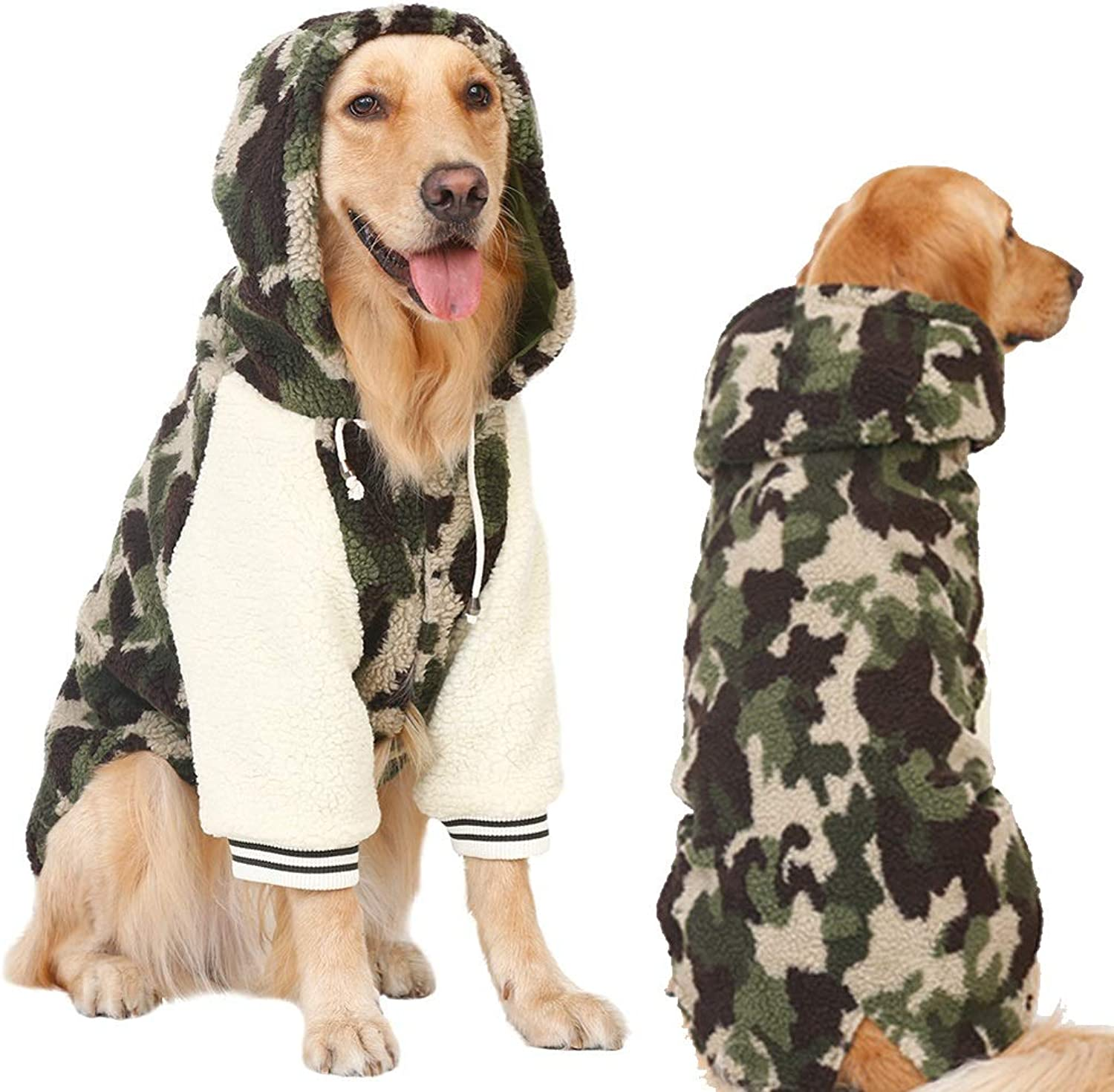 Dog Coat Supplement, Coats for Dogs Dog Apparel with Hat for Cold Weather, Pet Windproof Cloth Dogs Warm Classic Army Green Soft Vest Hoodies, Puppy Warm Winter Coats for Large Dogs