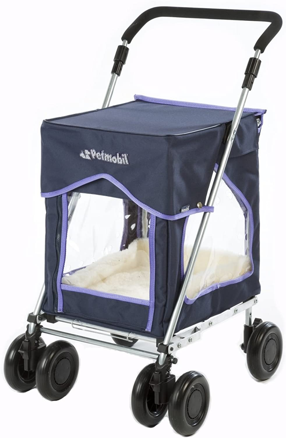 Petmobil by Sholley (Regular) in Discovery bluee, Folding, Strong and Stable Pet, Dog Stroller, Transporter, Carriage, Carrier, Pram, Pushchair, Dog Trolley with Wheels