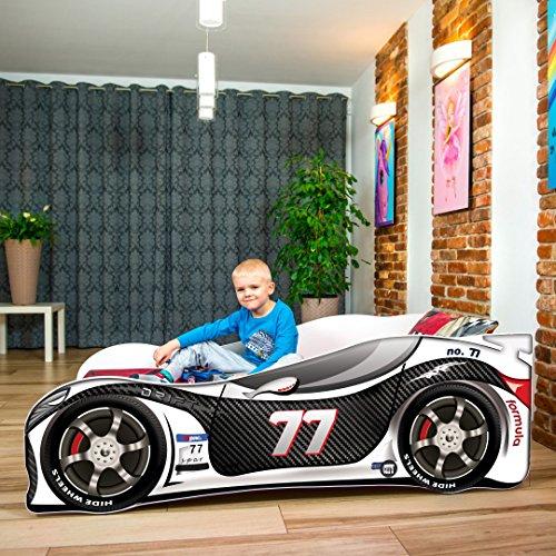 Cama infantil coche de carreras + somier (barandas) + colchón de espuma con cubierta (160 x 80 cm (3-8 años), black-white 77)