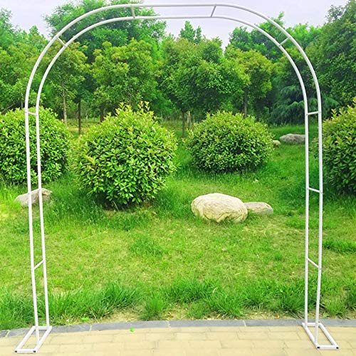 White Garden Rose Arch, 1.2x2.2m Large Garden Arbour Archway Trellis, Outdoor Metal Arches, For Various Climbing Plant, Outdoor Garden Lawn Backyard
