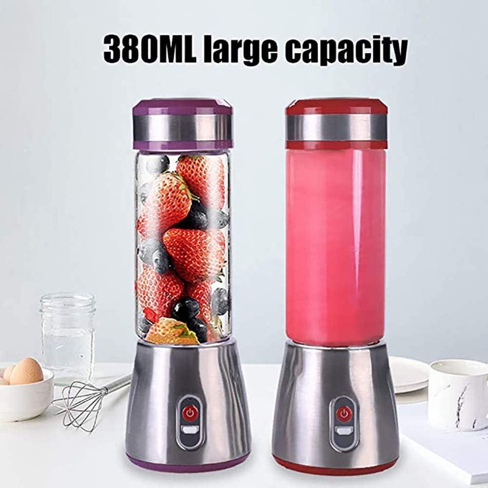 Portable Blender, Mini Handheld Elektrische Juicer, Smoothie Shake, USB oplaadbare, Personal Fruit Cup for sporten, in openlucht, Thuis, Kantoor, Purple ggsm (Color : Red) Red