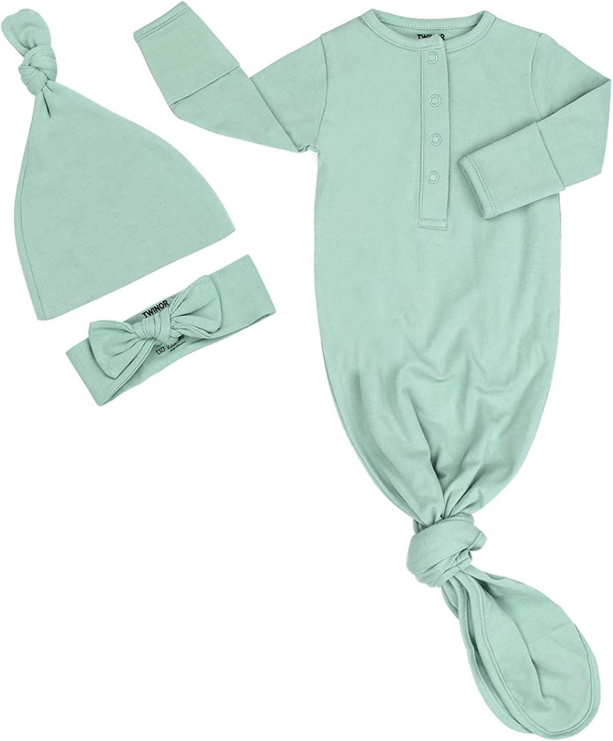 TWINOR Plain Knotted Baby Gown with Headband Hat Infant Sleeper for Baby Girl and Boy