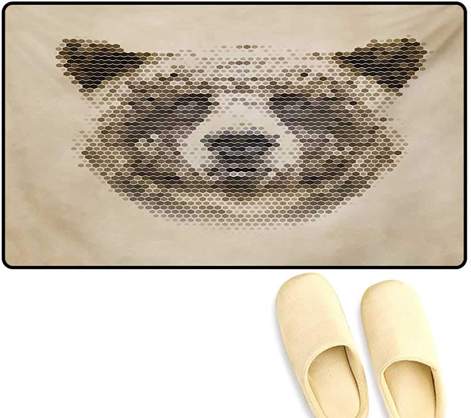 Door-mat,Wild Animal Head with Hexagonal Dots bluerry Looking Portrait Vintage Geometric Modern,Door Mats for Inside Bathroom Mat Non Slip,Tan Brown,24 x36