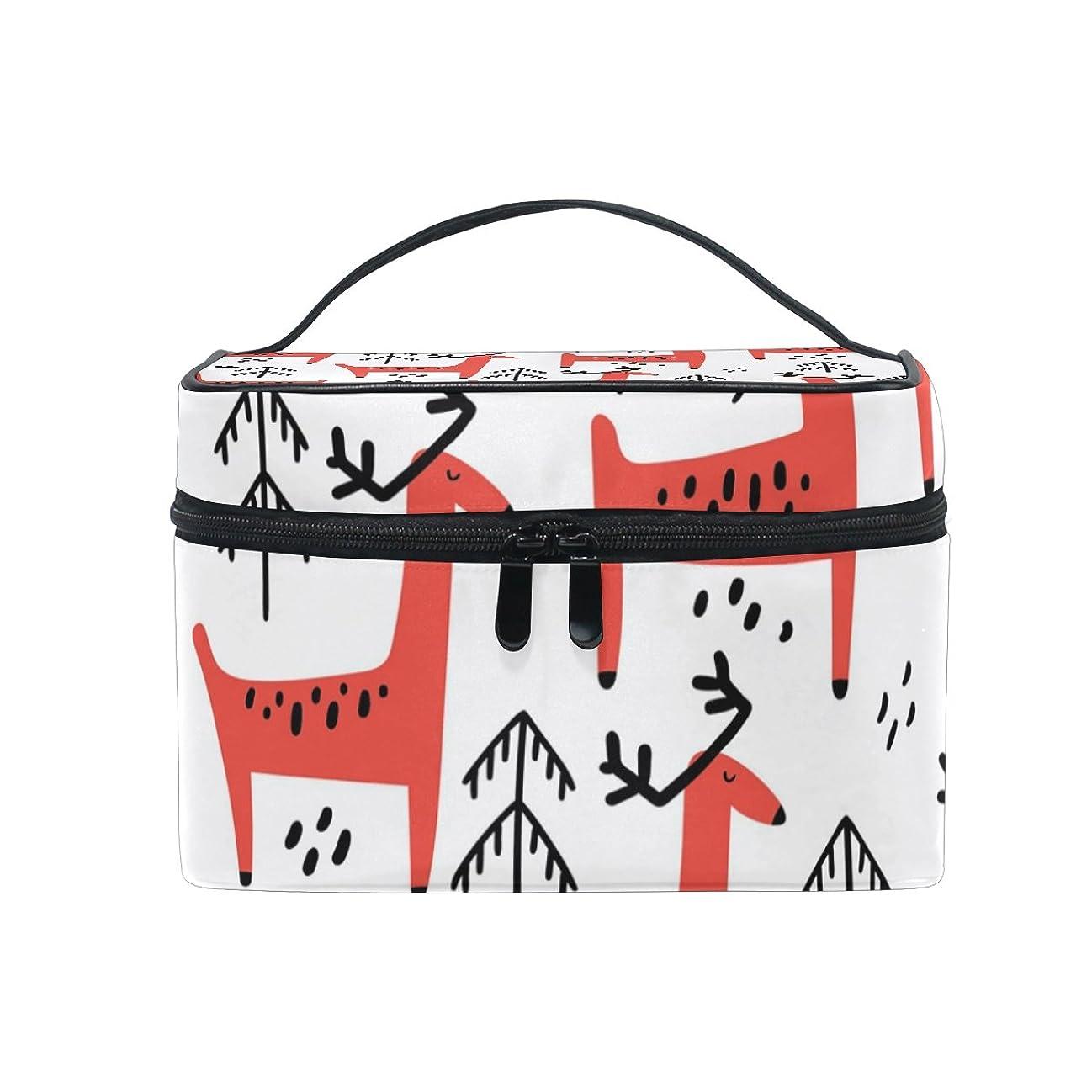 競争力のあるテープ抱擁ALAZA 化粧ポーチ 鹿柄 しか柄 化粧 メイクボックス 収納用品 ホワイト 大きめ かわいい