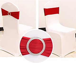 2013Newestseller 50PCS Spandex Chair Sashes Bows Elastic Chair Bands With Buckle Slider Sashes Bows For Wedding Party Ceremony Reception Banquet Decorations (Red)
