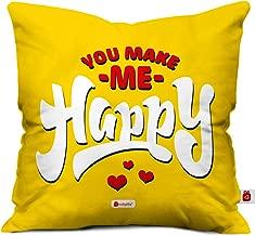 Indigifts indibni You Make Me Happy Printed Micro Satin Fibre Cushion Cover (Yellow, 12x12-inch)