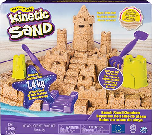 Kinetic Sand Kingdom Playset with 3lbs of Beach Sand, for Ages 3 and Up Mega Castle Set, Multicolor (Spin Master 6044143)