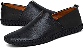 Sygjal Men's Drive Loafers Casual Light Soft Leather Hollow Breathable A Foot Pedal Boat Moccasins (Color : Hollow Black, Size : 50 EU)