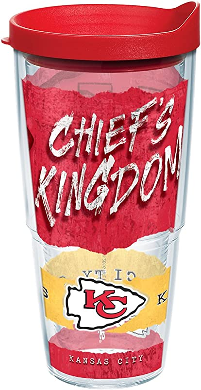 Tervis 1227744 NFL Kansas City Chiefs NFL Statement Tumbler With Wrap And Red Lid 24oz Clear