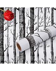 Hode Berkenboom Zelfklevend Behang 45cmX300cm Meubelsticker Peel en Stick Verwijderbare Vinyl Film Roll voor Muur Slaapkamer Woonkamer Plank Eenvoudig te gebruiken