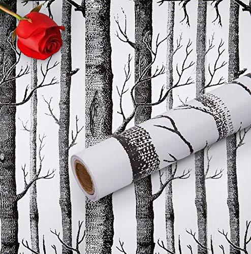 Hode Papel pintado autoadhesivo de árbol de abedul de 45 x 300 cm, adhesivo para muebles, rollo de película de vinilo extraíble para pared, dormitorio, sala de estar, fácil de usar