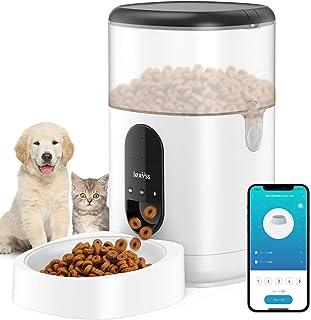 LEXVSS 自動給餌器 猫 中小型犬用 WIFI スマート餌やり器 清潔便利 録音可 手動給餌可 タイムー式で1日8食 乾燥剤付き 透明タンクで餌の残量確認可 2WAY給電 4L大容量 (黒)