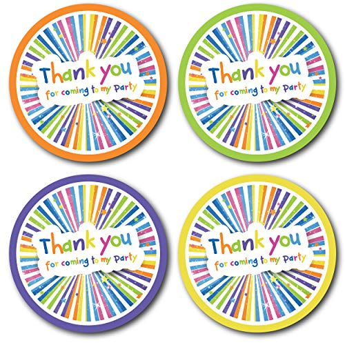 Olivia Samuel 45mm Colourful Thank You for Coming To My Party Stickers. 4 Bright Colours (24 Stickers). Great for party bags, sweet cones and birthday party bag fillers.