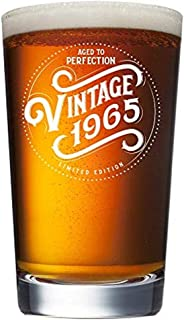 1965 54th Birthday Gifts for Men and Women Beer Glass - 16 oz Funny Vintage 54 Year Old Pint Glasses for Party Decorations - Anniversary Gift Ideas for Dad, Mom, Husband, Wife - Best Craft Beers Mug