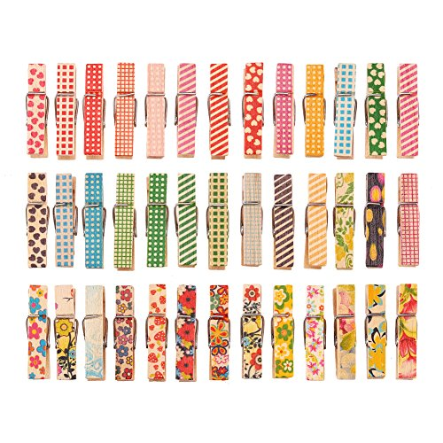 DECORA 3.5cm/1.38in Colorful Painted Wood Clothespin 100 Pieces for Photo Clips Scrap Booking Crafts Gift Wrapping