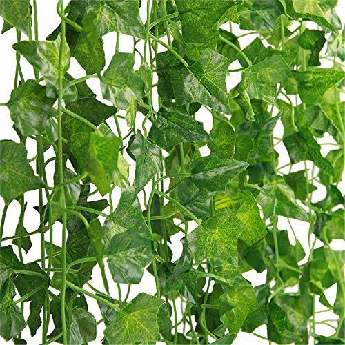 Ivy Vine Kunstmatige klimop, 12 stuks, 2,4 meter, voor bruiloft, tuin, kantoor, thuis, keuken, wanddecoratie, binnen en buiten