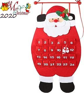ChenLee 2020 Christmas Advent Calendar,3D Santa Felt Haning Countdown Calendar with 24 Days Pockets Xmas Advent Calendar Ornaments for Kids Home Office Door Wall Decor