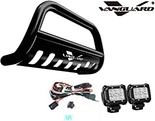 VANGUARD VGUBG-1182BK-LED For Jeep Cherokee 2014-2019 Bumper Guard Black Bull Bar with Skid Plate and 2 PC LED Cube Lights Combo