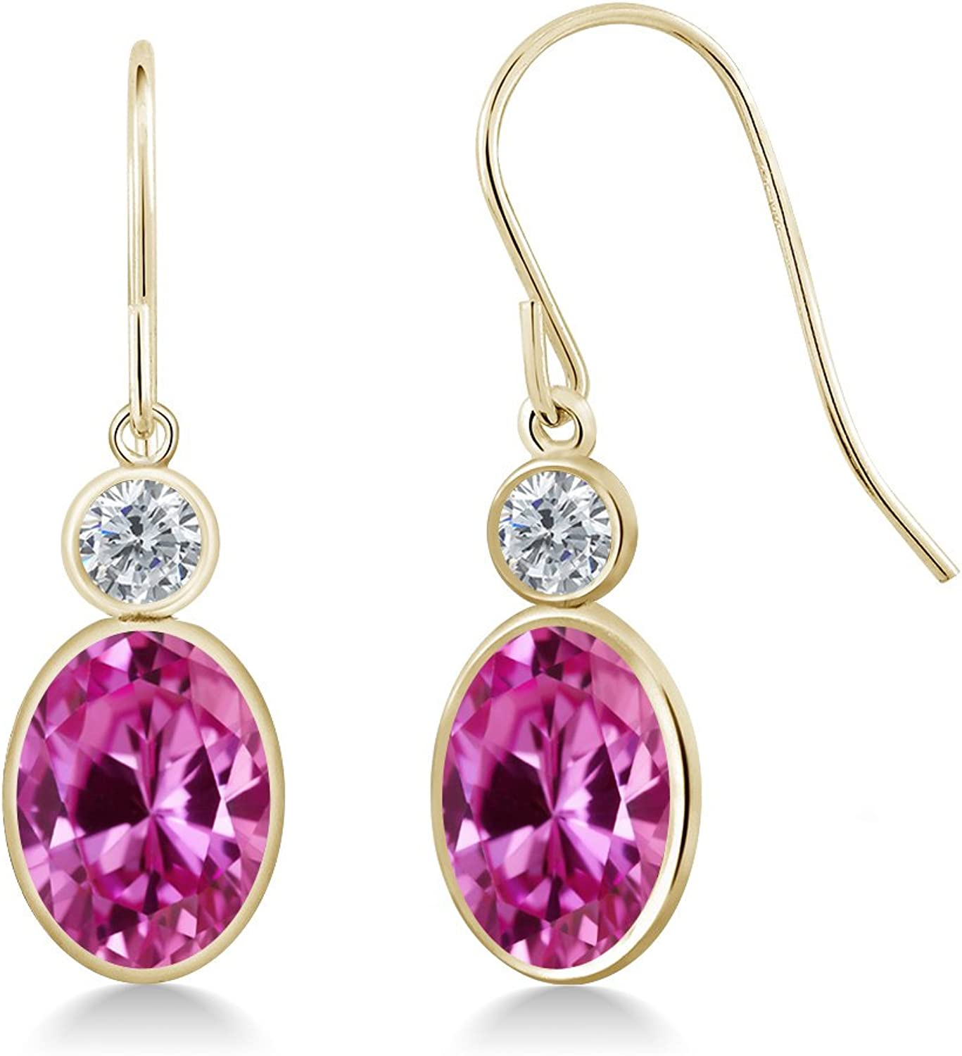 3.50 Ct Oval Pink Created Sapphire G H Diamond 14K Yellow gold Earrings