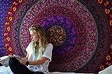 RAJRANG BRINGING RAJASTHAN TO YOU Tapiz Colorido Hippie - Pequeña decoración Mandala Colgantes Boho salón decoración psicodélica Tapices de Pared - 152 x 127cm - Rosa y Azul