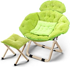 ZFF Moon Chair Lazy Couch Recliner Folding Chair Bedroom Living Room Thick and Comfortable Backrest Large Removable Washable + Footstool 96×99×51cm (Color : Green)
