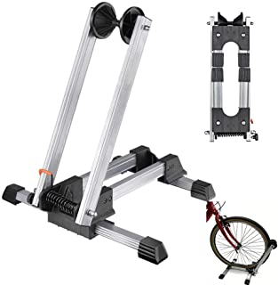 Clothink Bicycle Floor Wheel Stand Holder, Indoor Parking Rack Stand for Garage, Foldable Home Bike Stand Rack Holder