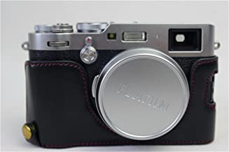 X100F Case, BolinUS Handmade PU Leather Half Camera Case Bag Cover Bottom Opening Version for Fujifilm Fuji X100F With Hand Strap -Black
