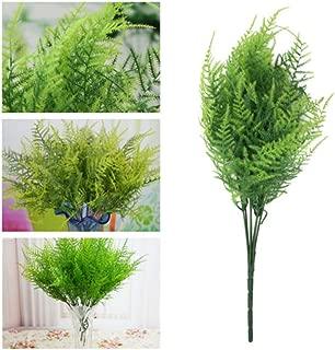 GUOYIHUA 7 Stems Artificial Asparagus Fern Bushes Plastic Grass Plant Home Decor Flower Arranging Wedding Hanging basket