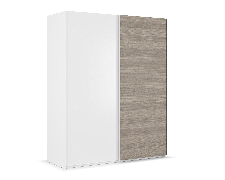 Armario ropero de Puertas correderas, con Barras y altillos, Color Blanco Brillo y Fresno de Gran Capacidad de Dormitorio (Medida: 150cm Ancho x 200cm Altura x 68cm Fondo): Amazon.es: Hogar