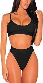 Women's High Waisted Push Up High Cut Thong Two Swimsuit Bikini Set