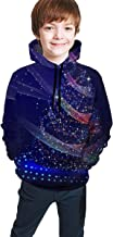 NZ Blue Starlight Christmas Tree Boys and Girls Son adecuados para Sudadera con Capucha de suéter Juvenil-