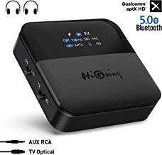 HiGoing Bluetooth 5.0 Transmitter Receiver, 2019 Upgraded 2-in-1 Wireless Audio Adapter with Indicator Screen Digital Optical TOSLINK 3.5mm AUX RCA aptX HD, aptX LL, Low Latency for TV/Home/Car Stereo