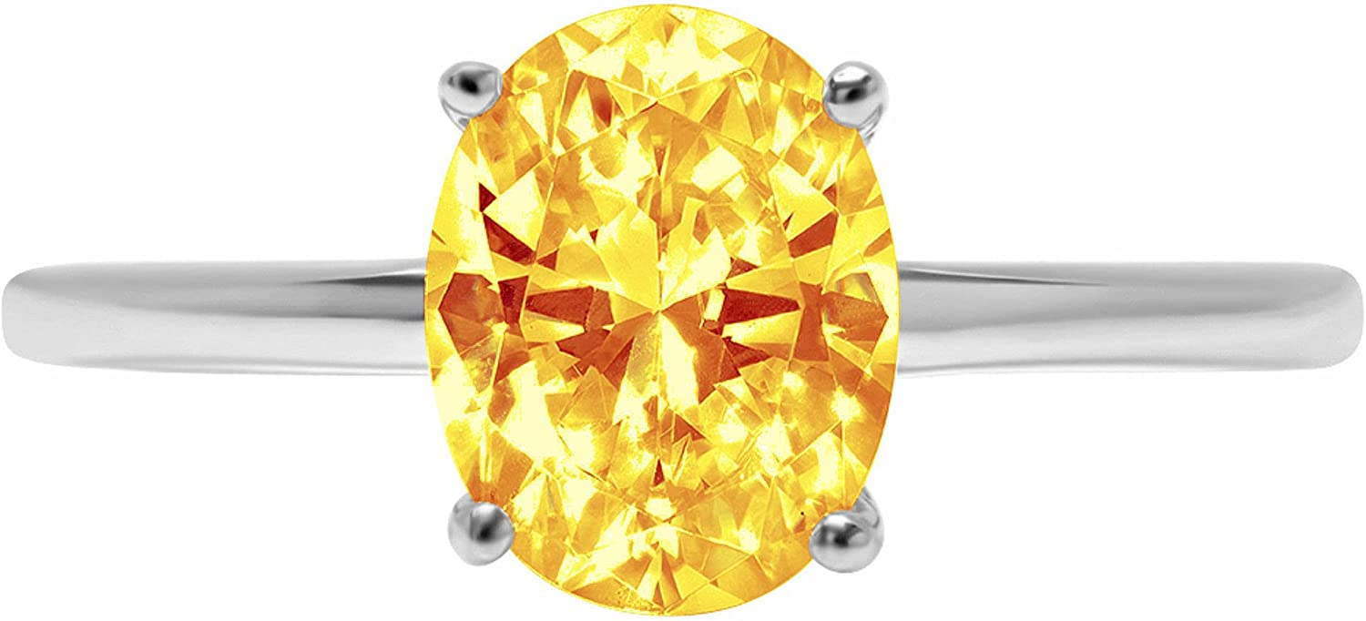 Clara Pucci 2.5ct Brilliant Oval Cut Solitaire Natural Yellow Citrine Gem 4-Prong Engagement Wedding Bridal Promise Anniversary Ring Solid 18K White Gold for Women