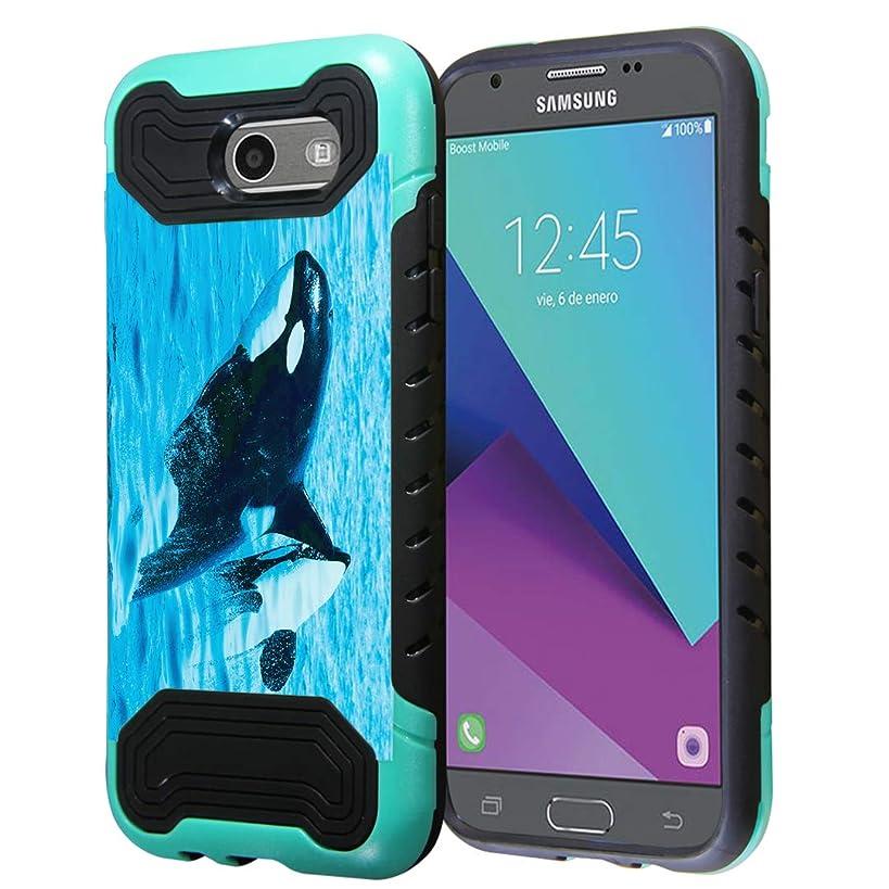 Capsule Case Compatible with Samsung Galaxy J7 Prime, J7 Perx, J7 Sky Pro, J7 V, Galaxy Halo, Galaxy J7 SM-J727 (Year 2017) [Quantum Dual Layer Slim Case Mint Black] - (Killer Whale)