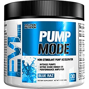 Evlution Nutrition Pump Mode Nitric Oxide Booster to Support Intense Pumps, Performance and Vascularity (Blue Raz)