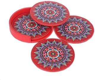 Posavasos de piel Oxcart Rueda (rojo) Set de 4 con soporte protege los muebles de derrames de agua, vino, café