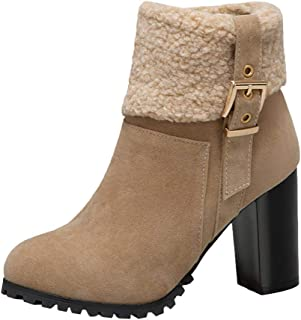 〓COOlCCI〓Women Winter Warm Suede Chunky Mid Heel Round Toe Winter Snow Boots Ankle Booties Mid-Calf Boots Riding Boots