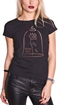 Disney Beauty & The Beast T Shirt Rose Oro Oficial Mujeres Skinny Fit