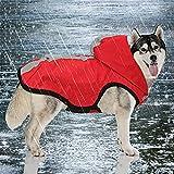 Idepet 2-in-1 giacca impermeabile per cani impermeabile, tuta leggera per animali domestici poncho antipioggia traspirante a copertura totale con cappuccio per cani di taglia media (L, Rosso)