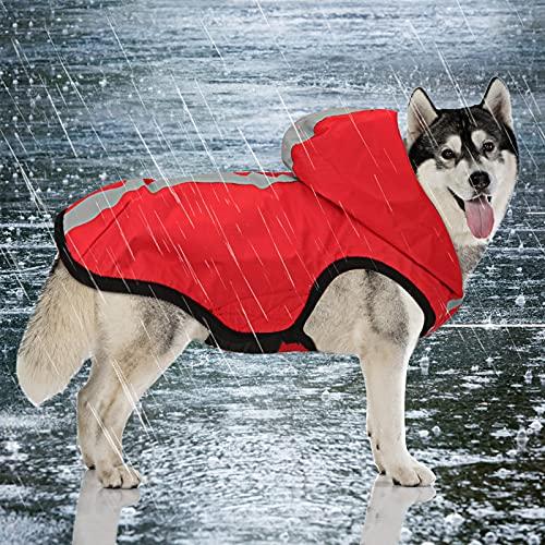 Idepet 2-in-1 giacca impermeabile per cani impermeabile, tuta leggera per animali domestici poncho antipioggia traspirante a copertura totale con cappuccio per cani di taglia media (3XL, Rosso)