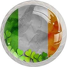 Lade handgrepen trekken ronde kristallen glazen kast knoppen keuken kast handvat,Shamrock blad klaver