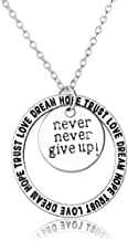 Dwcly Never GIVE UP Best Friend Engraved Inspirational Quote Hand Stamped Pendant Necklace