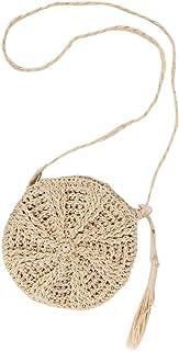 Faletony Sommer Runde Stroh Umhängetasche, Strandtasche Strohtasche Crossbody Strand Tasche für Damen Mädchen Frau, Khaki/...