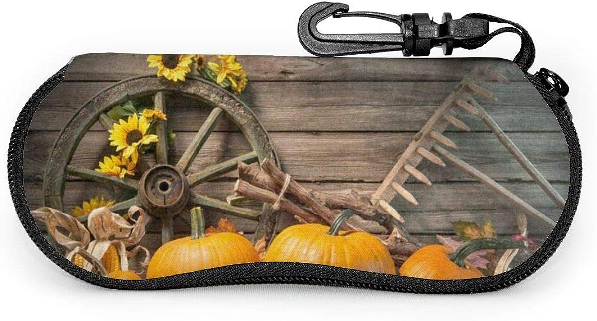 Thanksgiving Pumpkins Sunflower Sunglasses Soft Case Ultra Light Neoprene Zipper Eyeglass Case With Key Chain