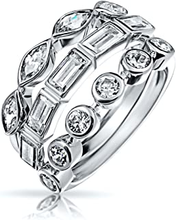 3 Set Geometric Cubic Zirconia Baguette Marquise Round CZ Stackable Wedding Band Ring Set For Women 925 Sterling Silver
