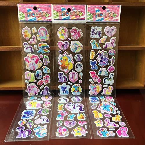 BLOUR 6 unids/Lote de Pegatinas de Burbujas, Pegatinas de Dibujos Animados, Recuerdos de Fiesta para niños, Bonitas Pegatinas de Manualidades para Manualidades, Regalo para niños, pequeño Pony